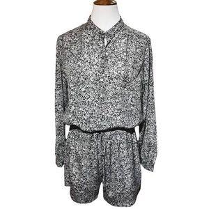 Michael Kors Shorts Romper Black White Floral